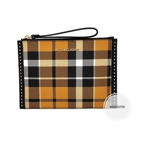 Michael Kors Plaid Yellow Wristlet Clutch